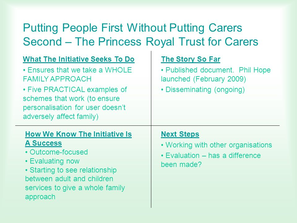 Putting People First Without Putting Carers Second – The Princess Royal Trust for Carers