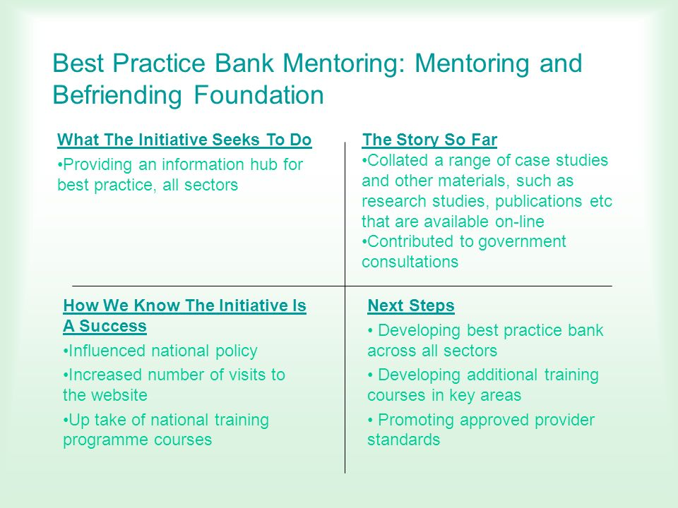 Best Practice Bank Mentoring: Mentoring and Befriending Foundation