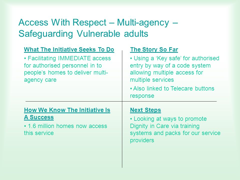 Access With Respect – Multi-agency – Safeguarding Vulnerable adults