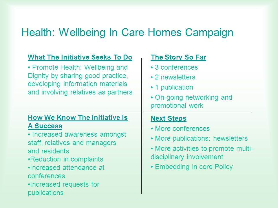 Health: Wellbeing In Care Homes Campaign
