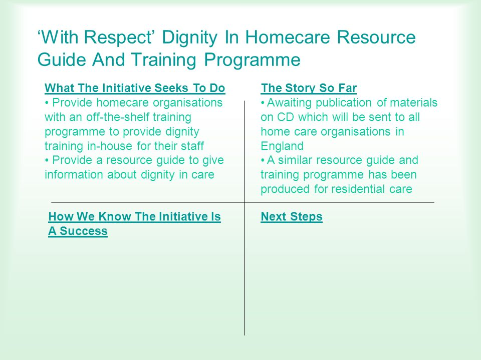 'With Respect' Dignity In Homecare Resource Guide And Training Programme