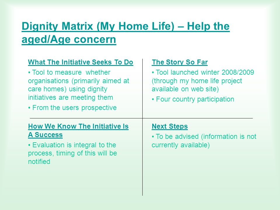 Dignity Matrix (My Home Life) – Help the aged/Age concern