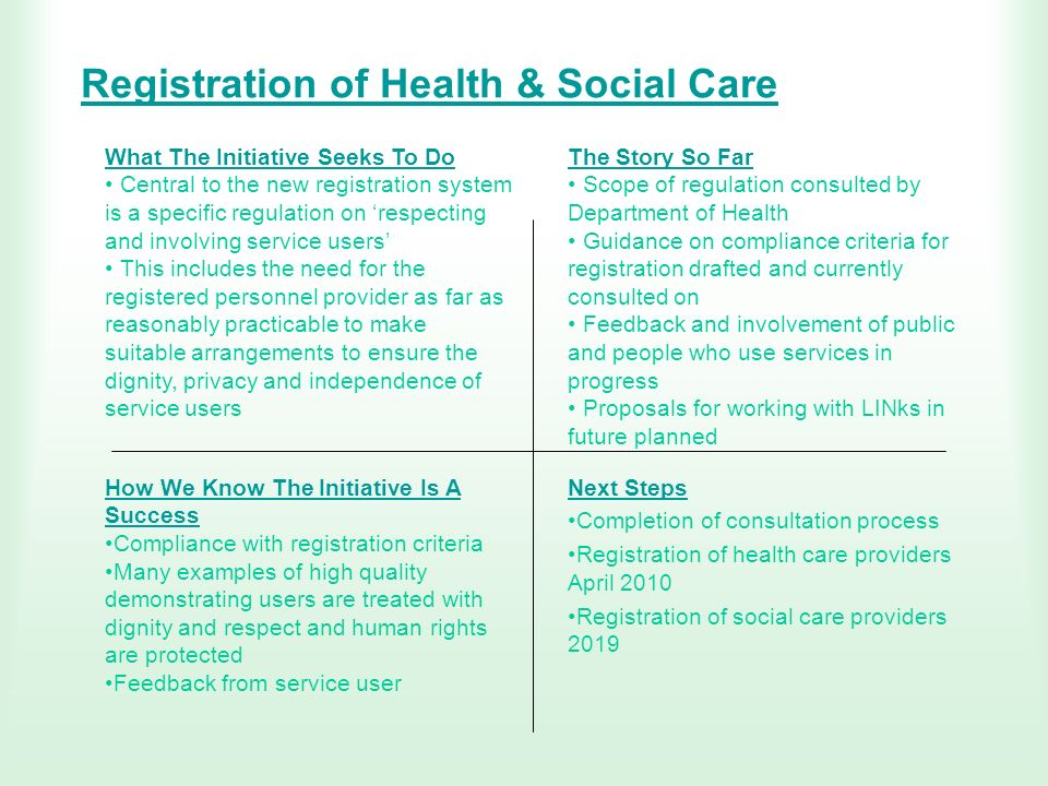 Registration of Health & Social Care