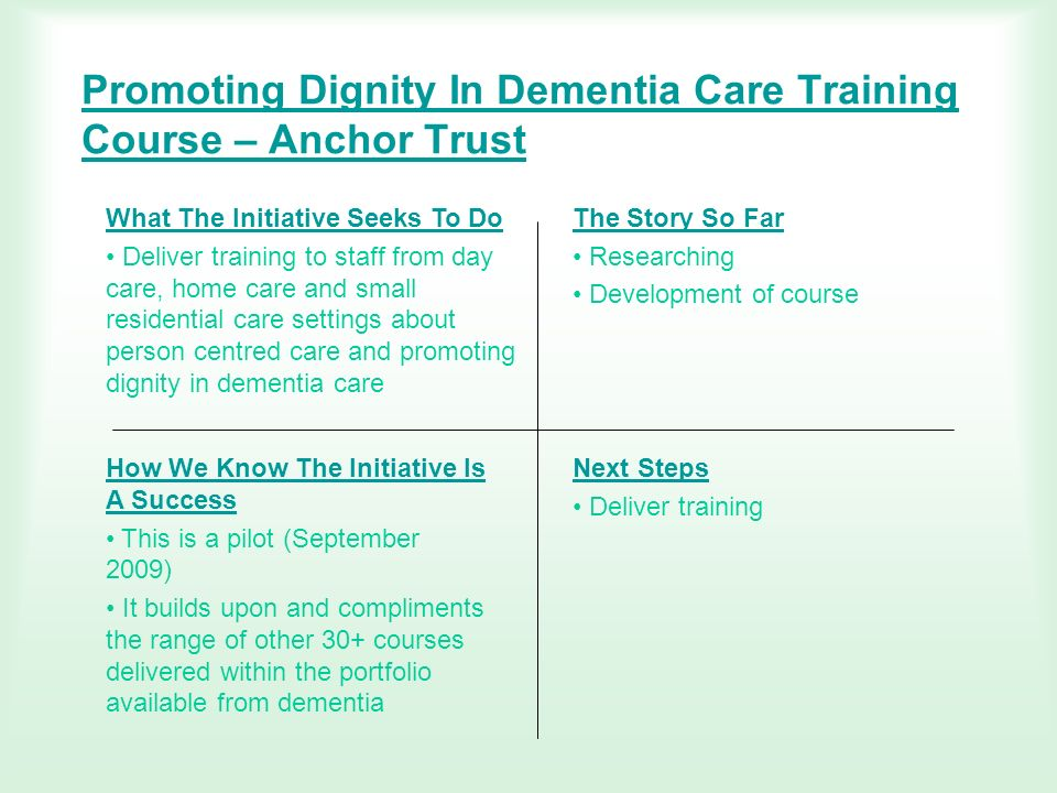 Promoting Dignity In Dementia Care Training Course – Anchor Trust