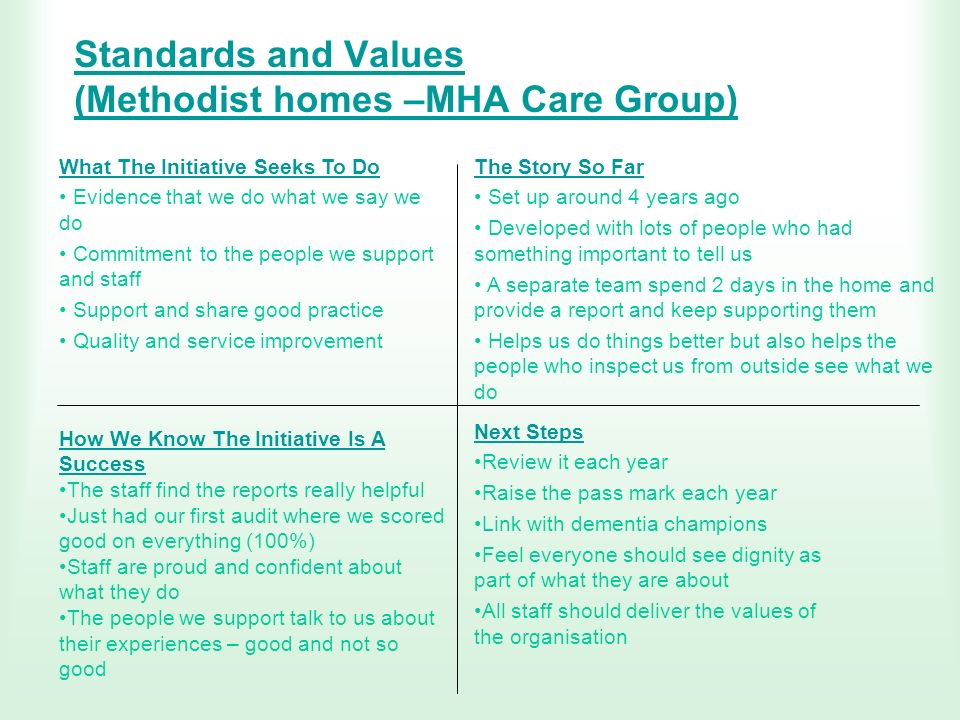 Standards and Values (Methodist homes –MHA Care Group)