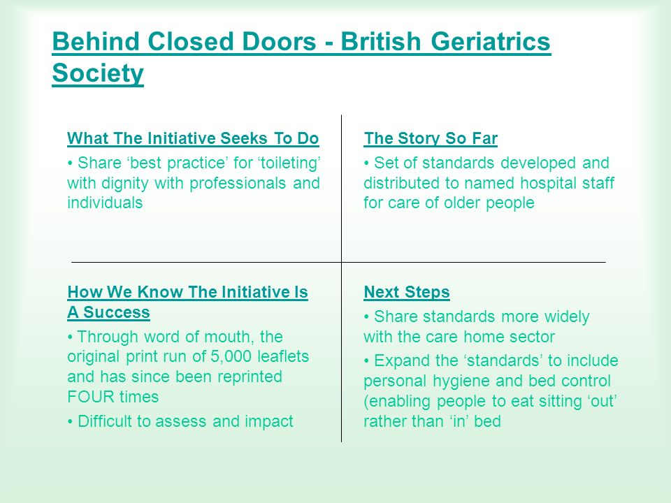 Behind Closed Doors - British Geriatrics Society