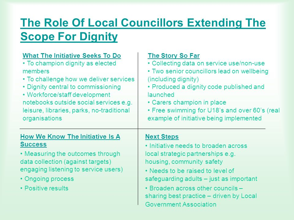 The Role Of Local Councillors Extending The Scope For Dignity