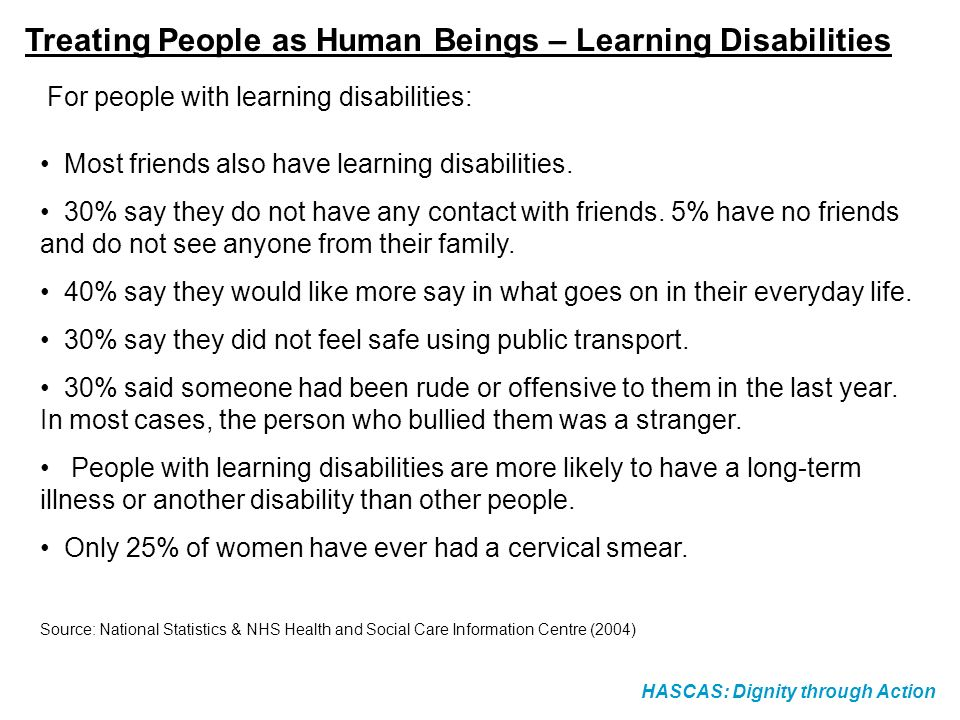 Treating People as Human Beings – Learning Disabilities