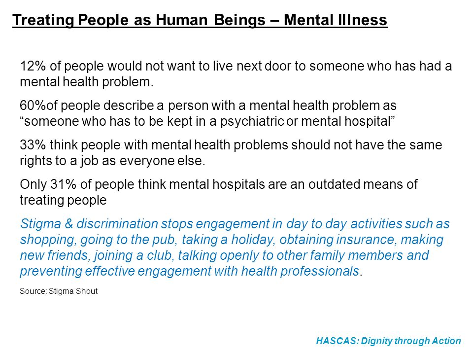 Treating People as Human Beings – Mental Illness