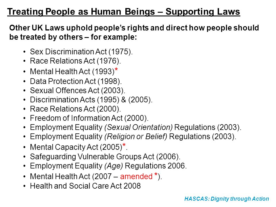 Treating People as Human Beings – Supporting Laws