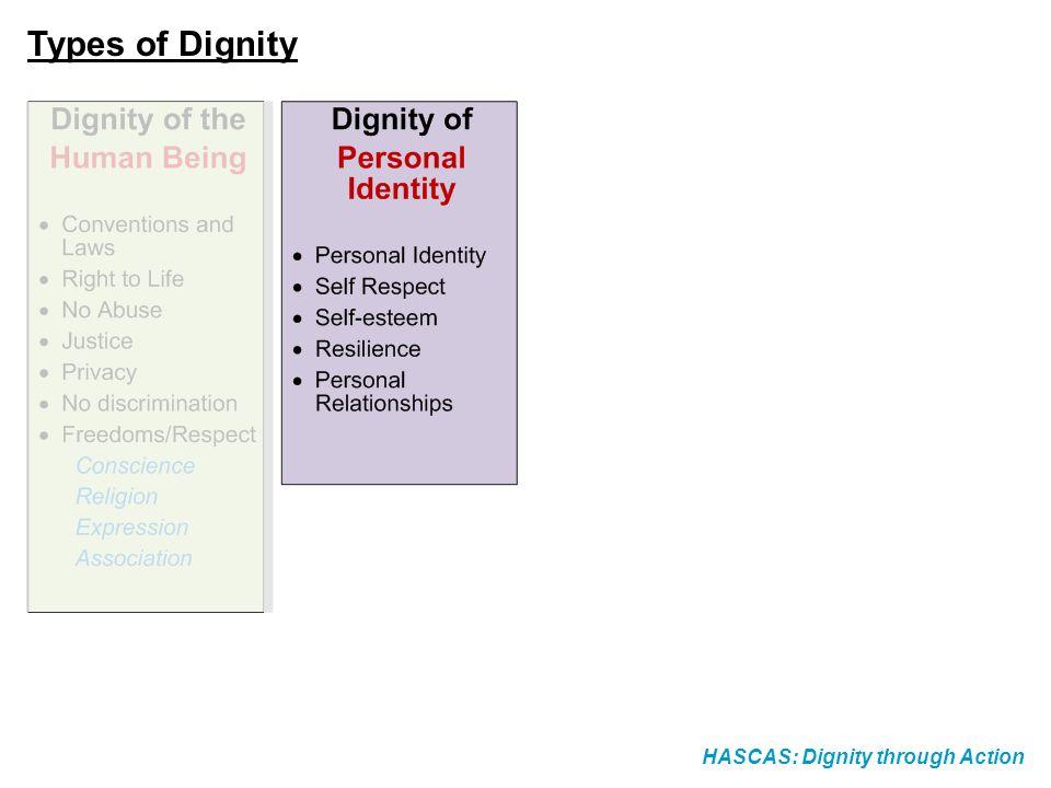 Types of Dignity HASCAS: Dignity through Action