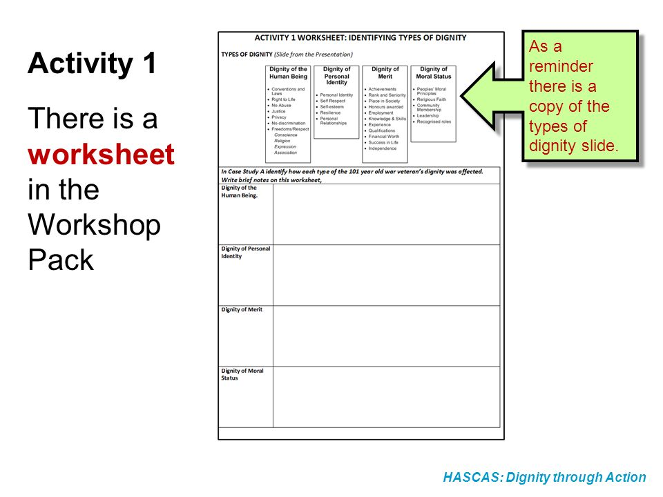 Activity 1 There is a worksheet in the Workshop Pack