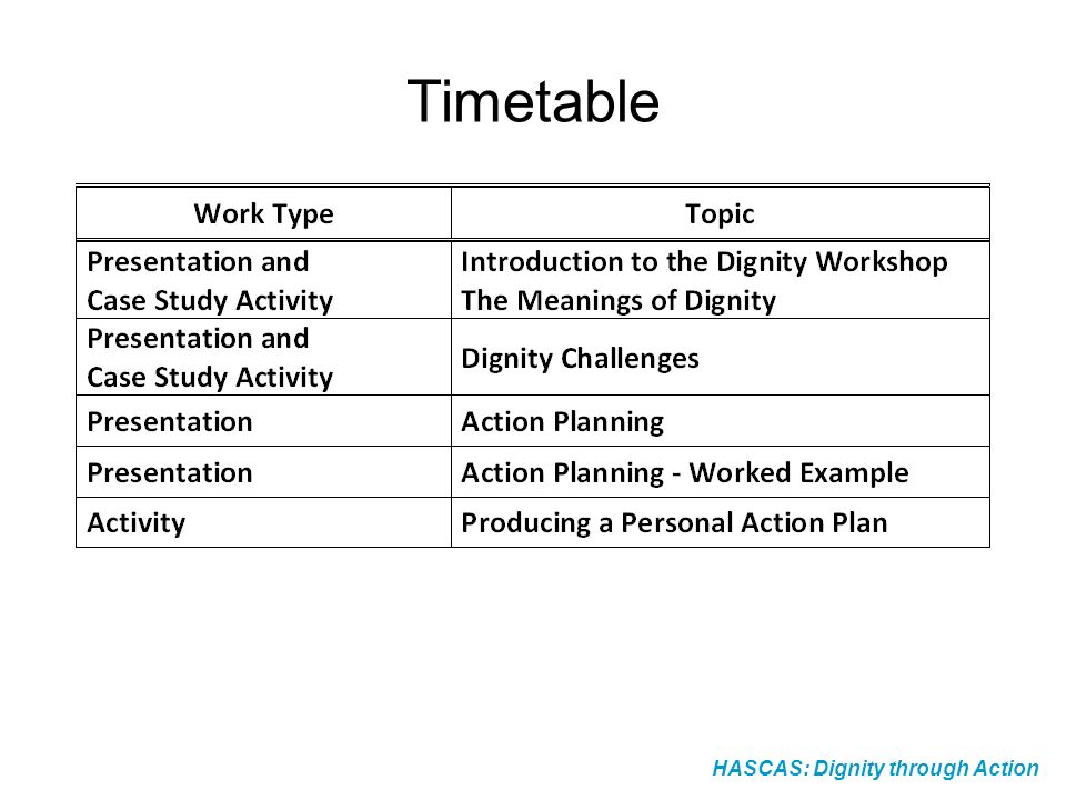 Timetable HASCAS: Dignity through Action