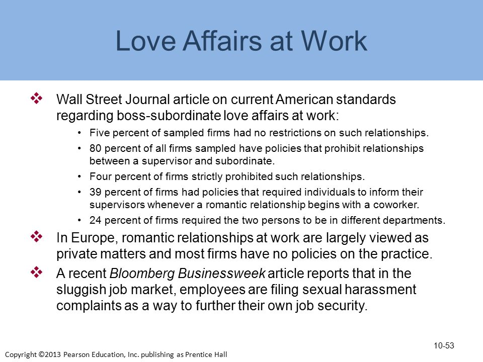 Dating affair in the workplace policy california