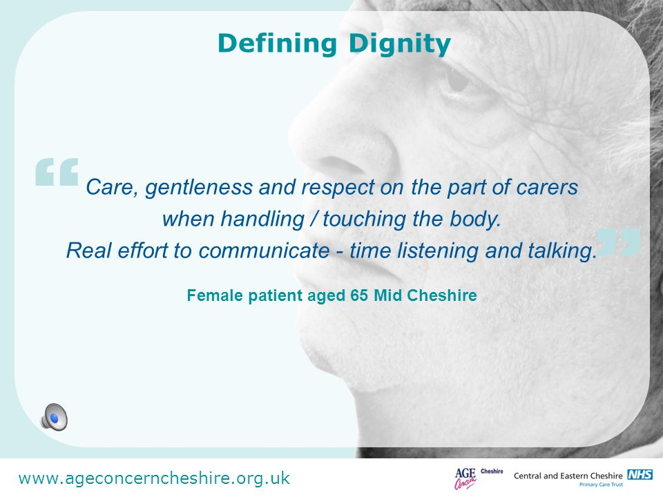 Female patient aged 65 Mid Cheshire
