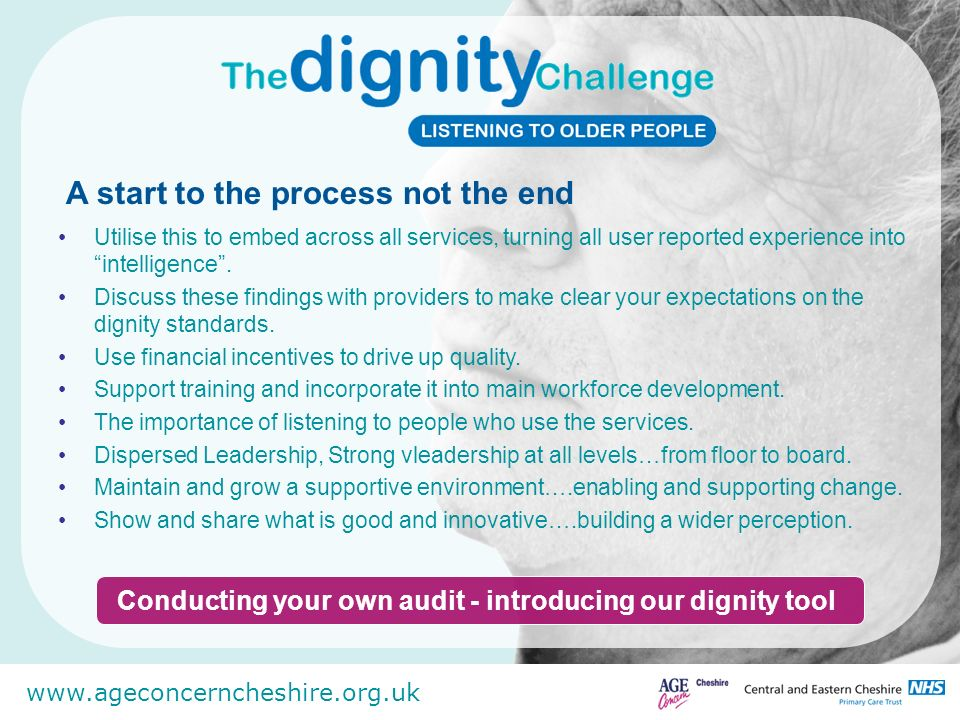 Conducting your own audit - introducing our dignity tool