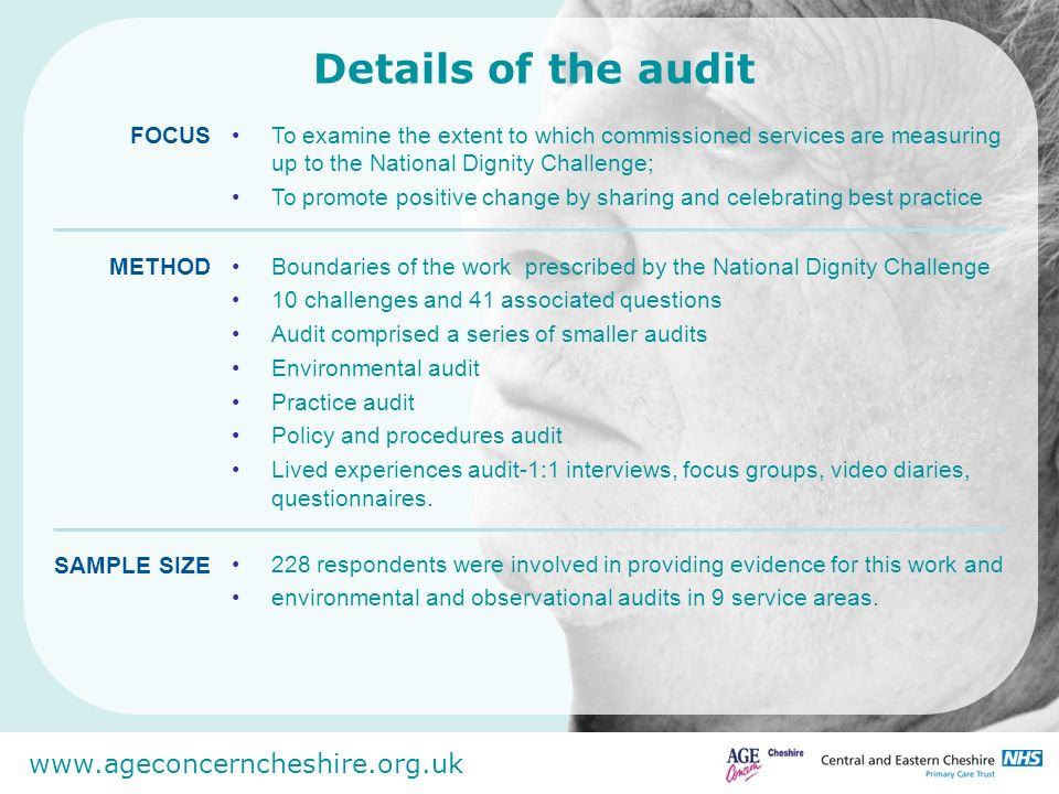 Details of the audit To examine the extent to which commissioned services are measuring up to the National Dignity Challenge;