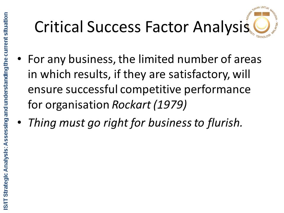 critical success factor analysis essay Key success factors of apple mbalectures january 17, 2011 5 comments apple critical success factors, apple key success factors porter five forces analysis of mark and spencer (m&s) classification of motives popular articles.
