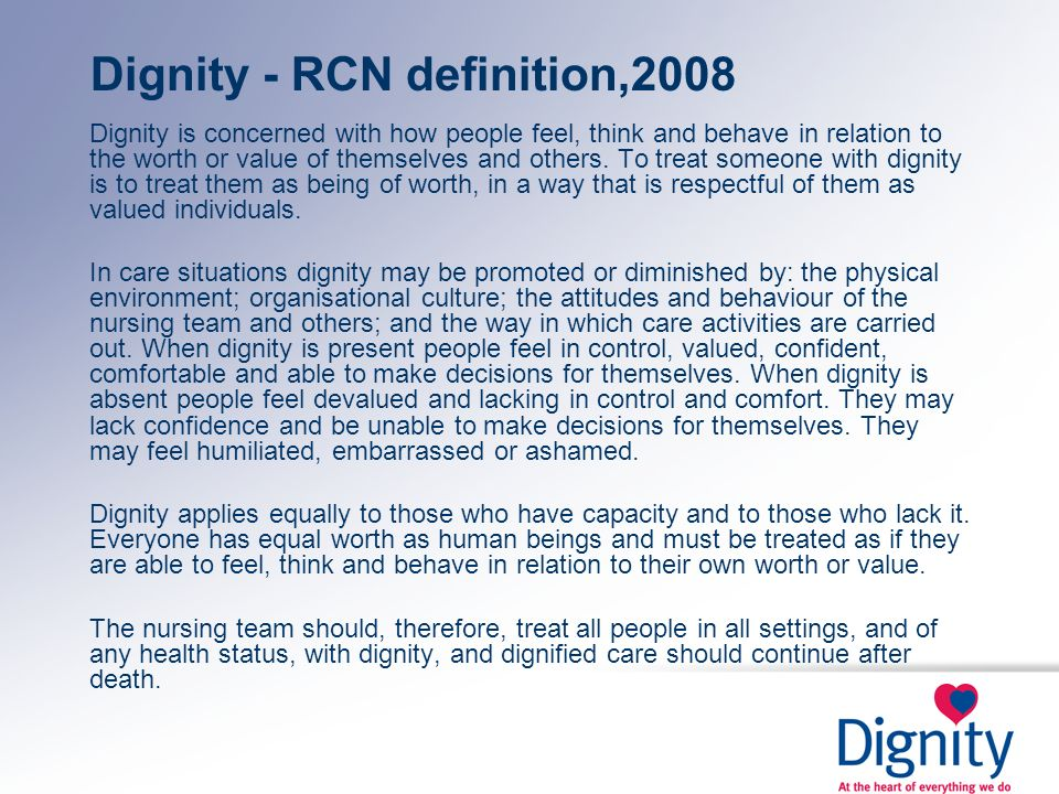 Dignity - RCN definition,2008