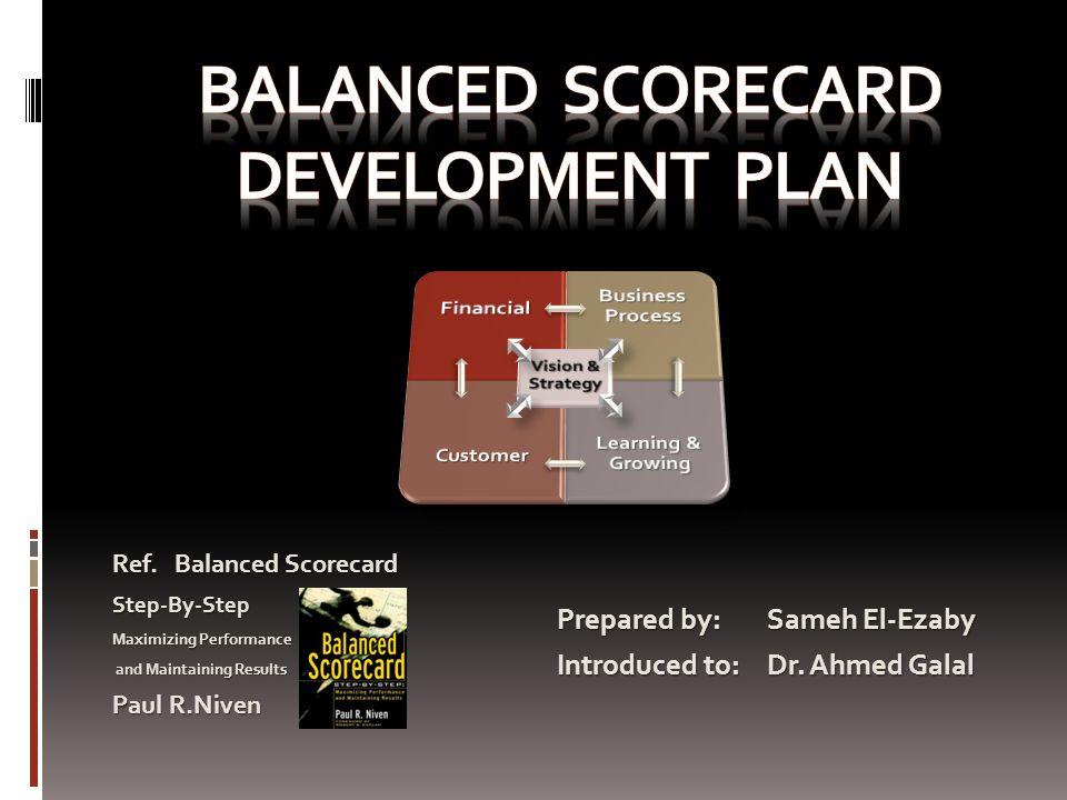 developing a balanced scorecard
