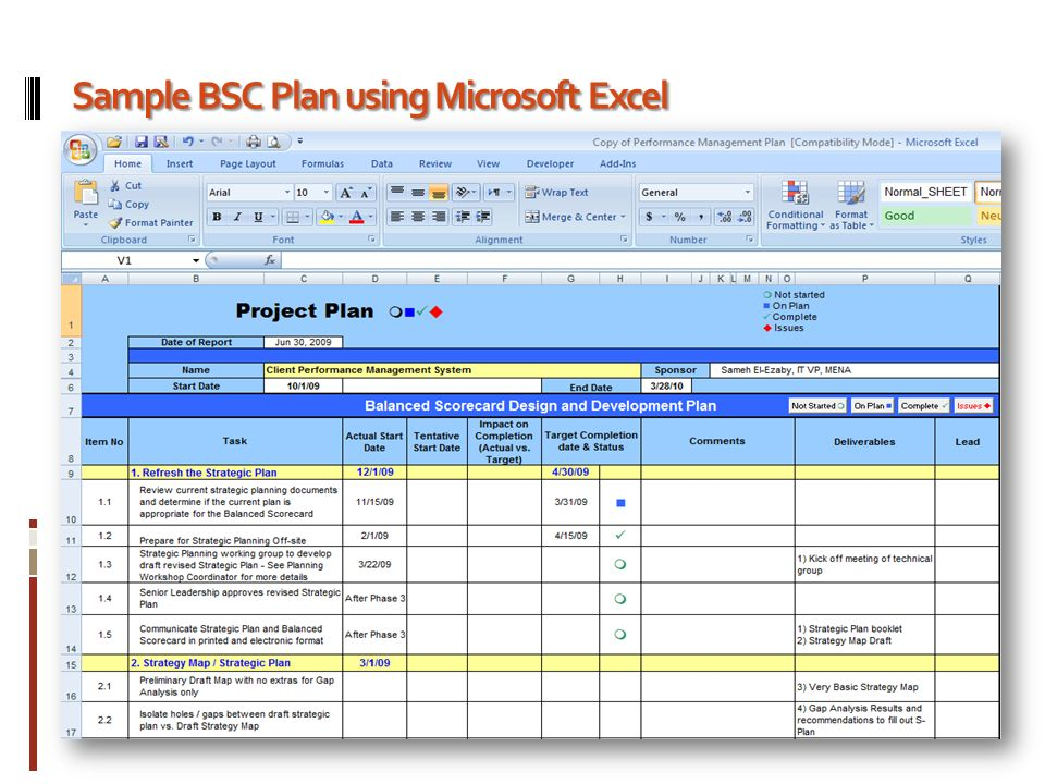 Balanced Scorecard Development Plan  Microsoft Strategic Plan