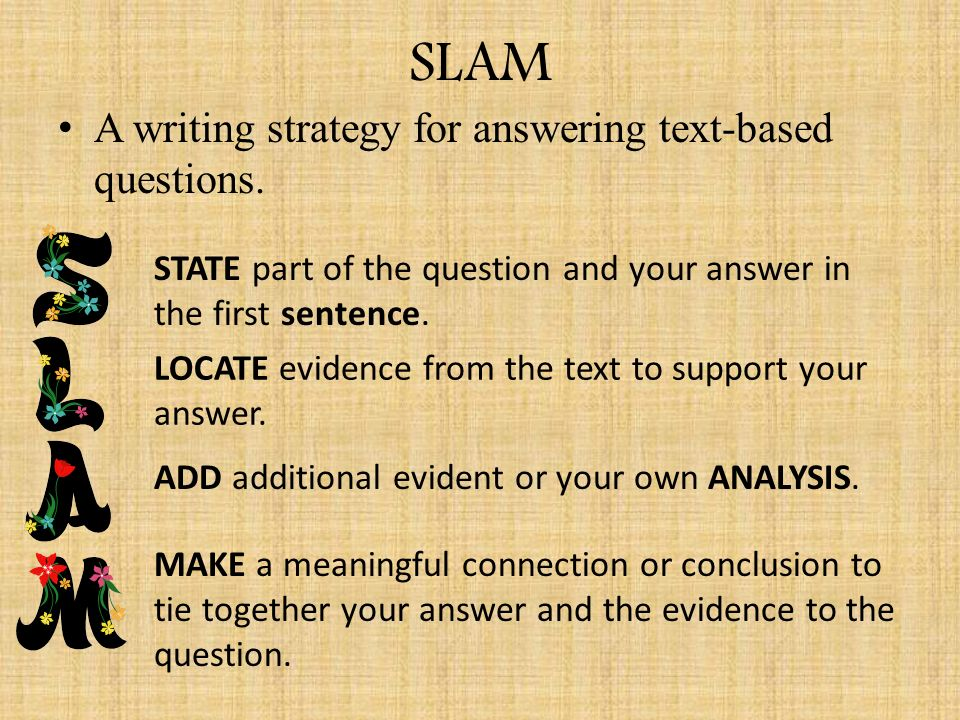 slam essay Write that essay supply the following classroom resources to schools  the slam dunk paragraph (a2 poster - $20) .