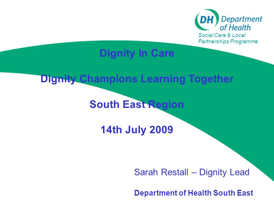 Dignity In Care Dignity Champions Learning Together