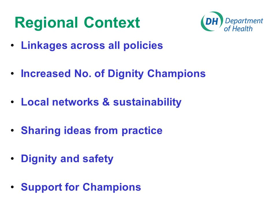 Regional Context Linkages across all policies