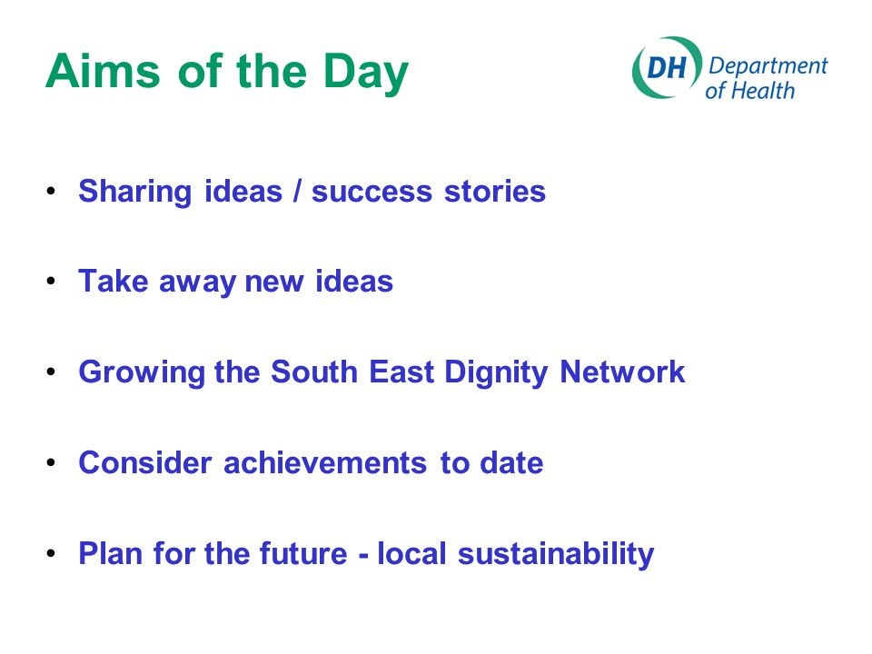 Aims of the Day Sharing ideas / success stories Take away new ideas