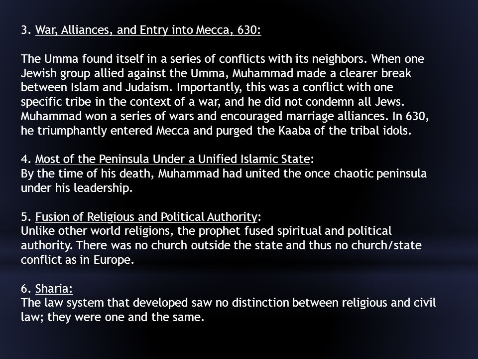 3. War, Alliances, and Entry into Mecca, 630: