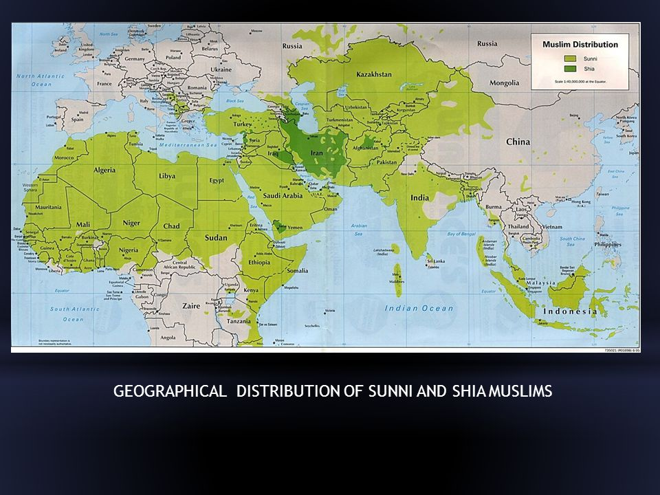GEOGRAPHICAL DISTRIBUTION OF SUNNI AND SHIA MUSLIMS