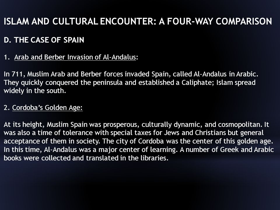 ISLAM AND CULTURAL ENCOUNTER: A FOUR-WAY COMPARISON