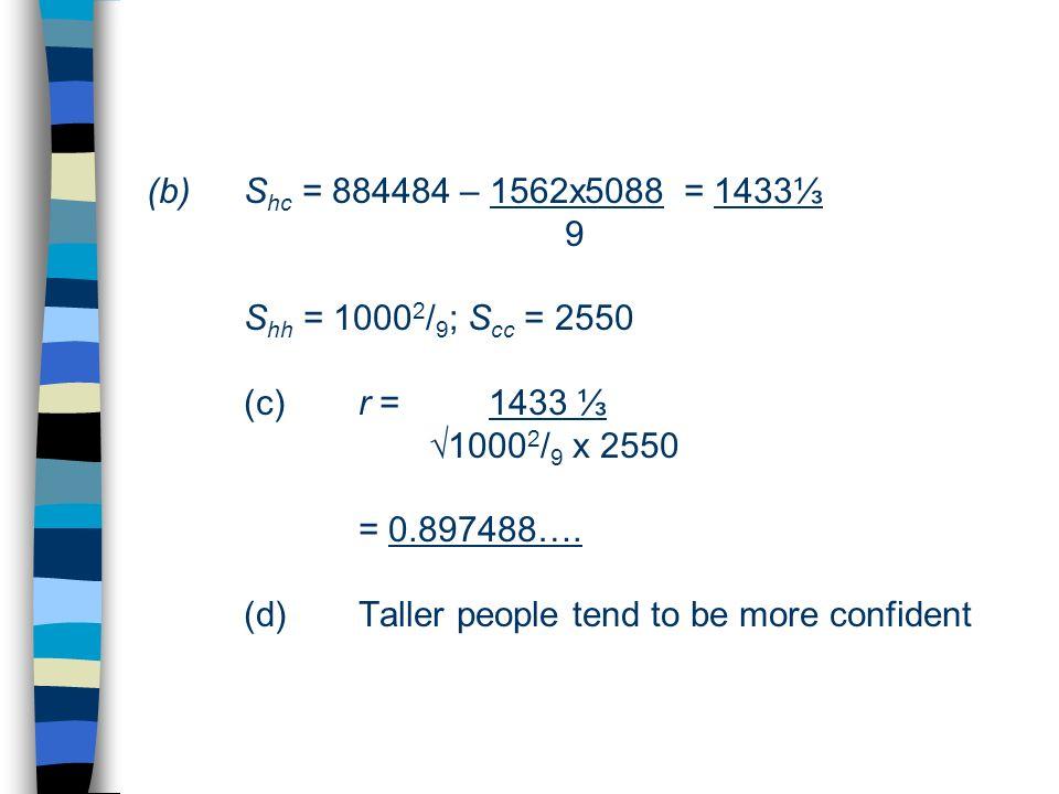 Shc = 884484 – 1562x5088 = 1433⅓ 9. Shh = 10002/9; Scc = 2550. (c)