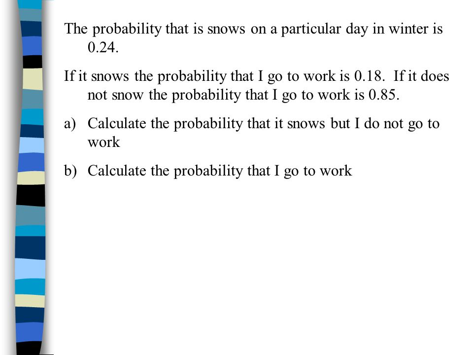 The probability that is snows on a particular day in winter is 0.24.