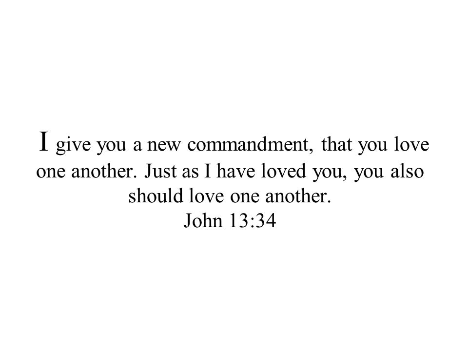 I give you a new commandment, that you love one another