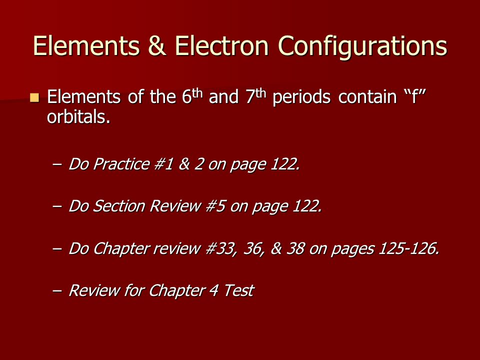 Elements & Electron Configurations