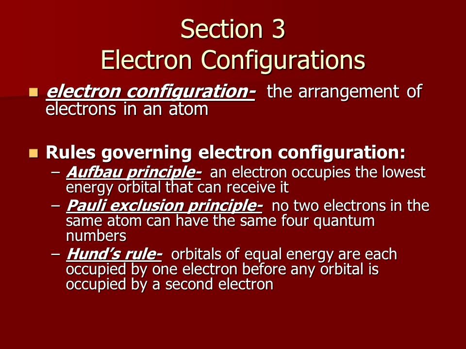 Section 3 Electron Configurations