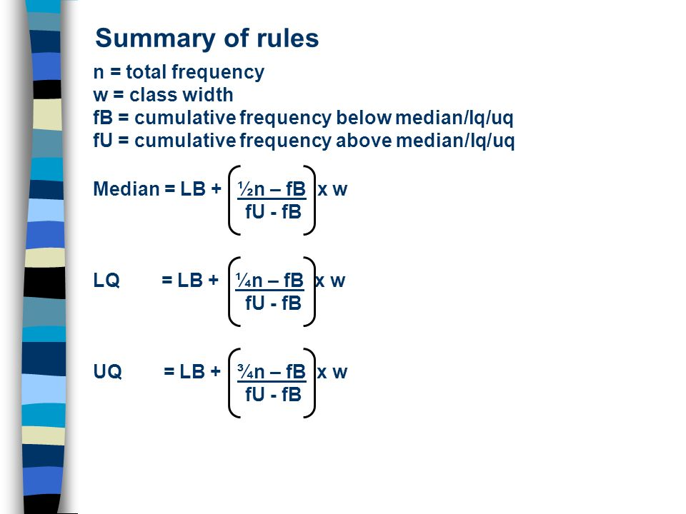 Summary of rules n = total frequency w = class width
