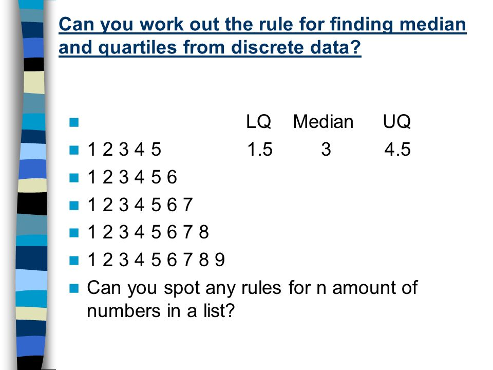 Can you work out the rule for finding median and quartiles from discrete data