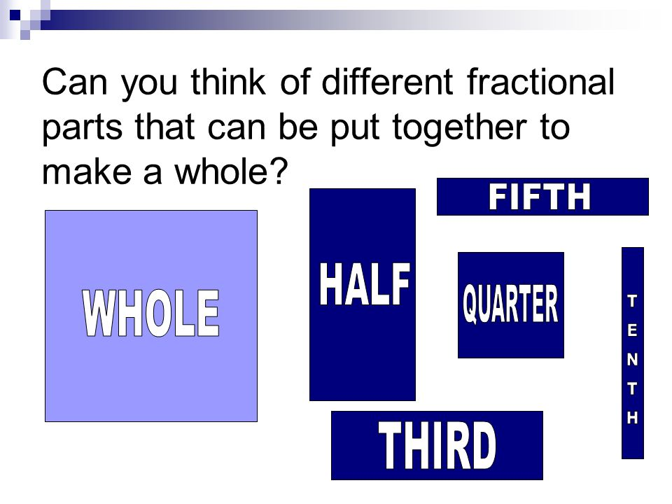 Can you think of different fractional parts that can be put together to make a whole