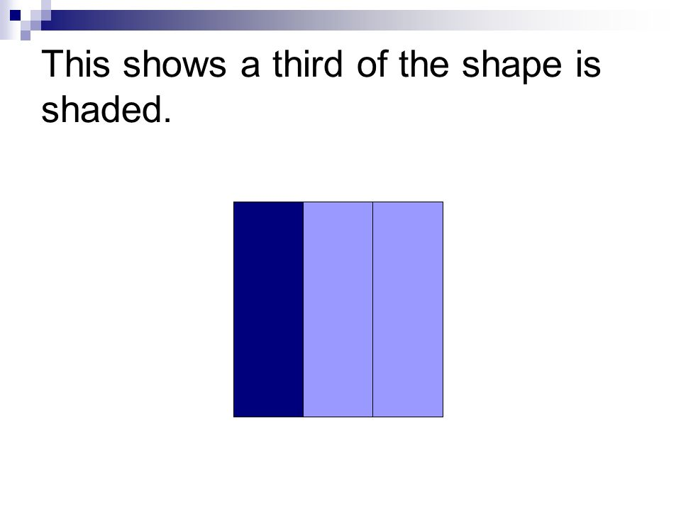 This shows a third of the shape is shaded.