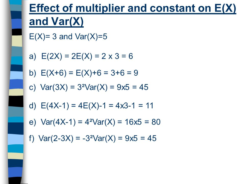 Effect of multiplier and constant on E(X) and Var(X)