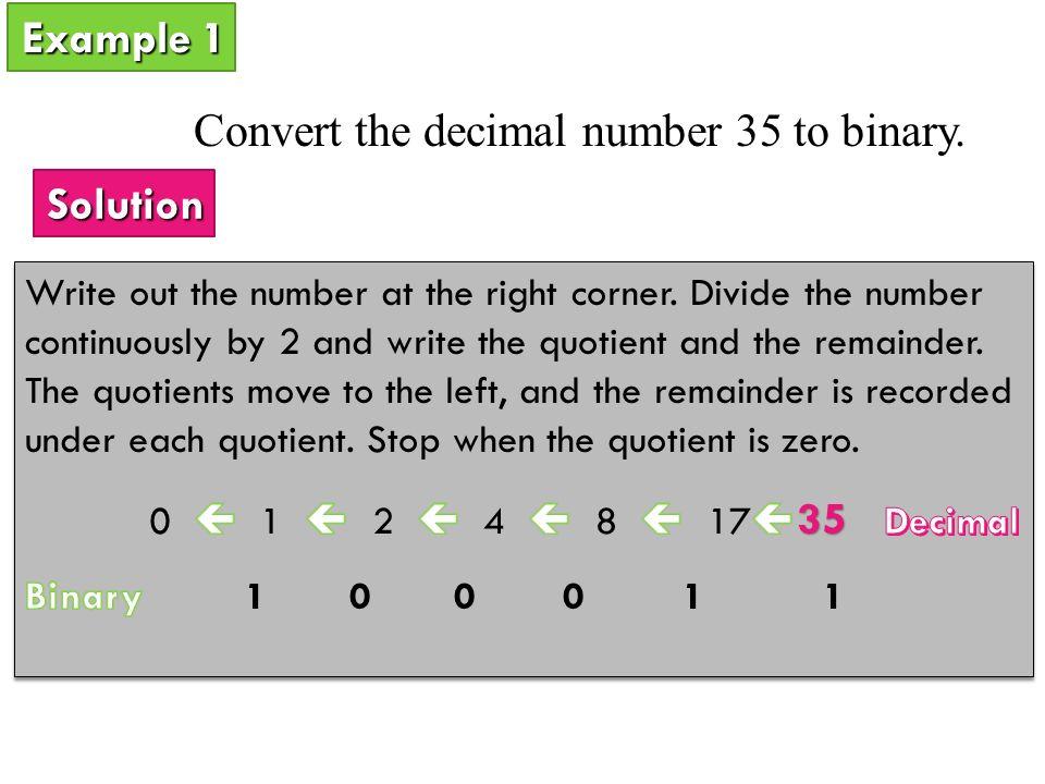 manually convert decimal to binary