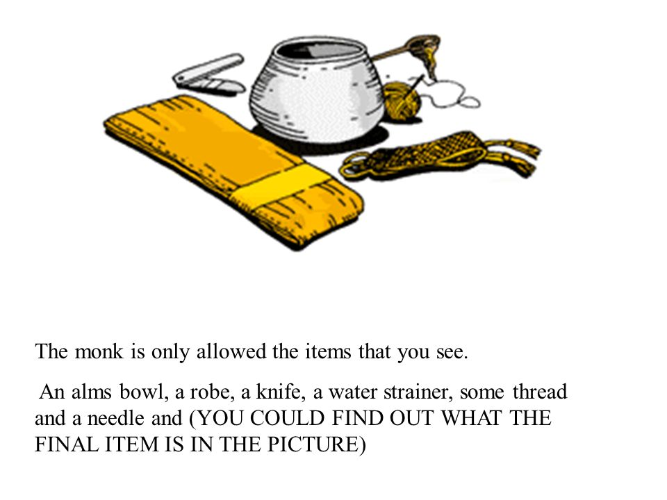 The monk is only allowed the items that you see.