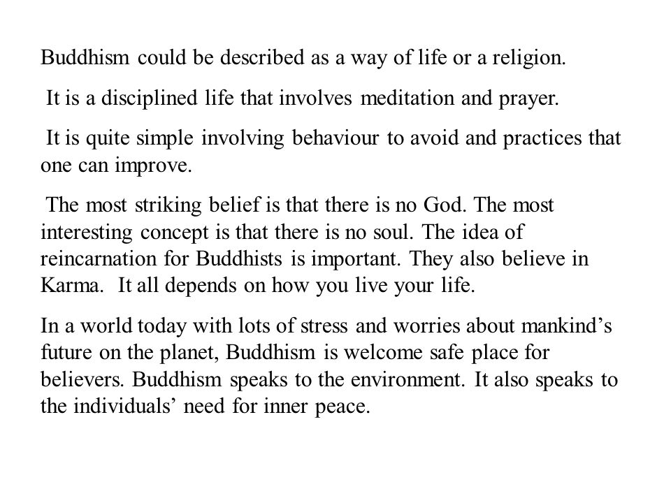 Buddhism could be described as a way of life or a religion.