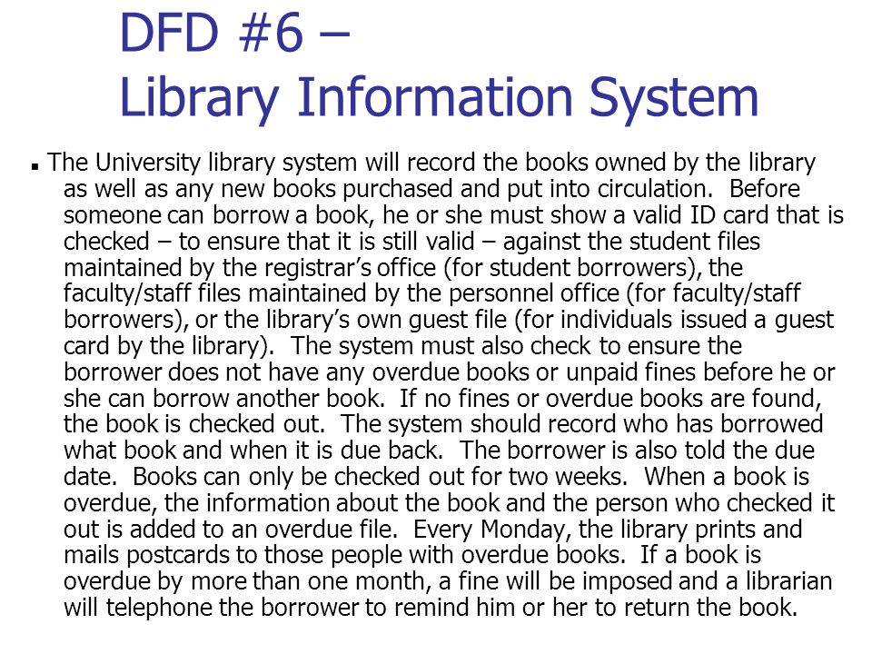 DFD #6 – Library Information System