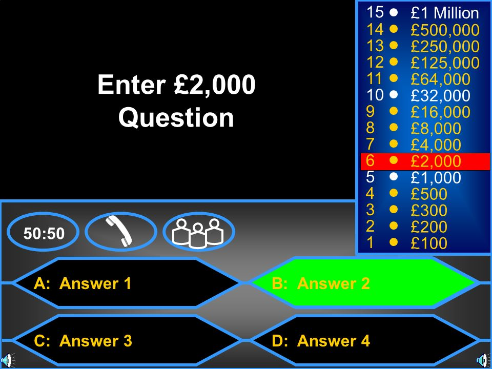 Enter £2,000 Question 15 £1 Million 14 £500,000 13 £250,000 12