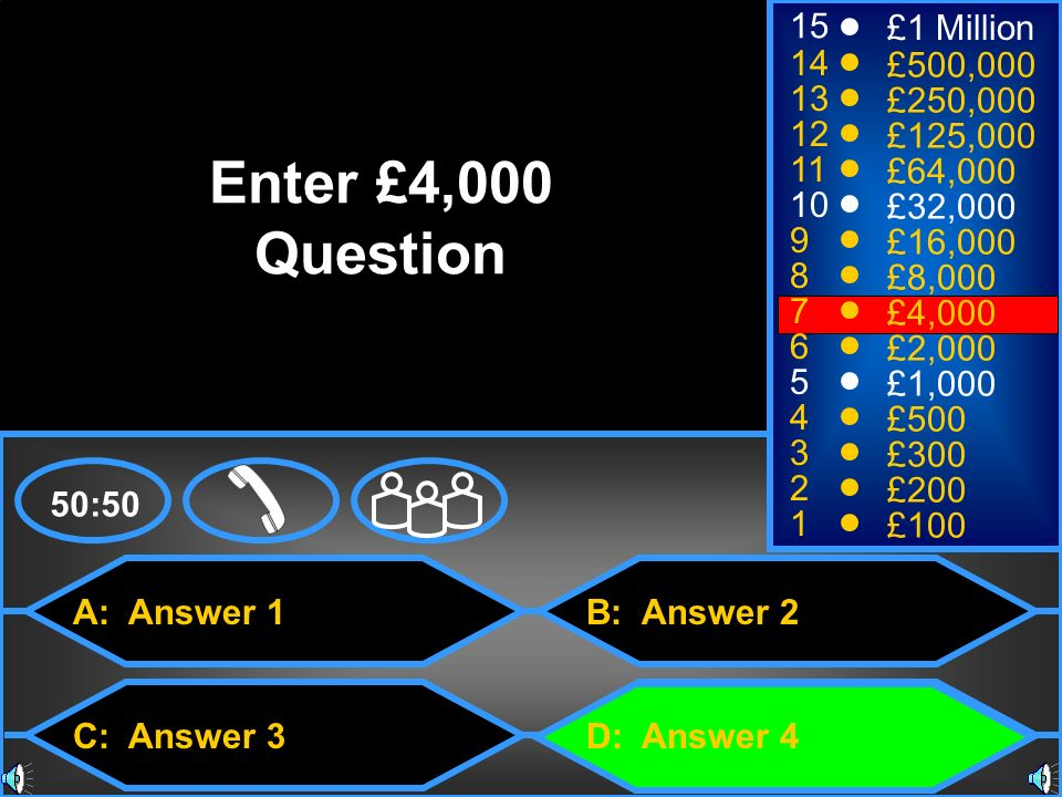 Enter £4,000 Question 15 £1 Million 14 £500,000 13 £250,000 12