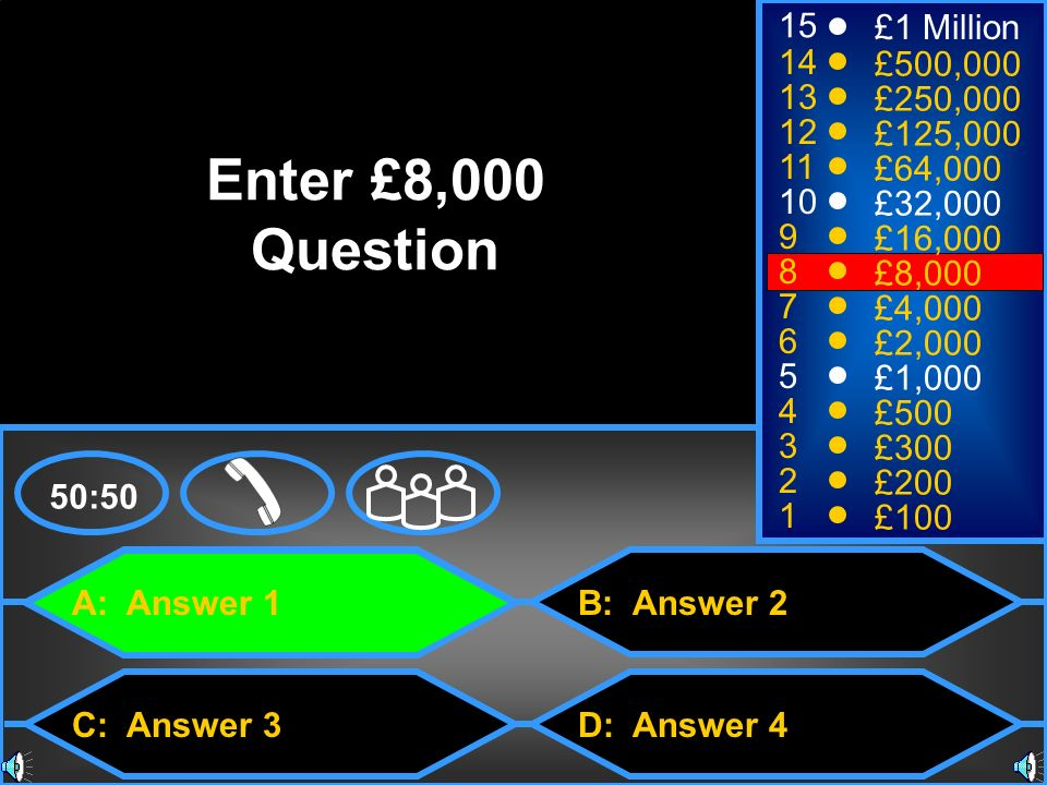 Enter £8,000 Question 15 £1 Million 14 £500,000 13 £250,000 12