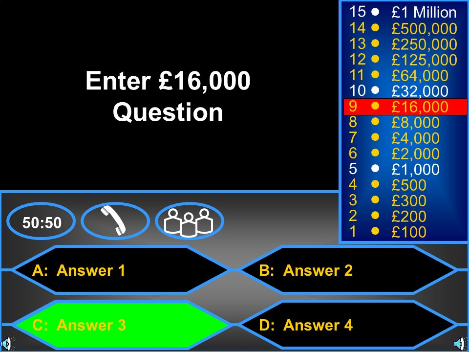 Enter £16,000 Question 15 £1 Million 14 £500,000 13 £250,000 12